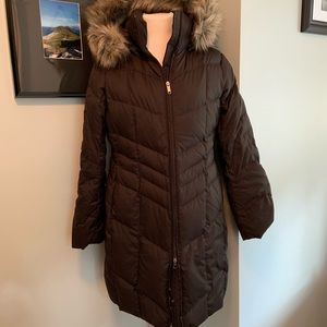 Lands End Down Long Puffer Coat with Fur Hood (A)